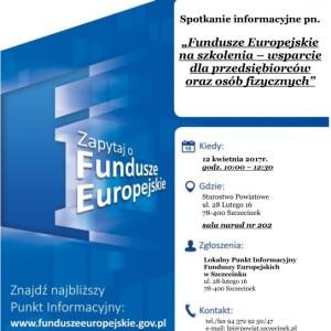"""""""Fundusze Europejskie na szkolenia – wsparcie dla przedsiębiorców oraz osób fizycznych"""""""